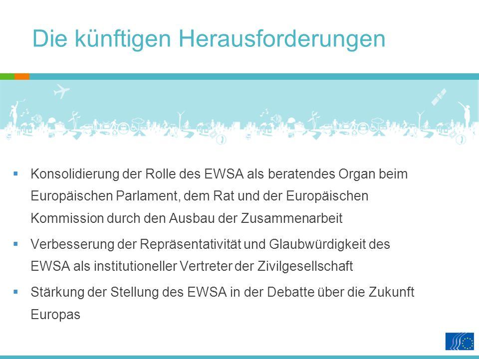 Die künftigen Herausforderungen Konsolidierung der Rolle des EWSA als beratendes Organ beim Europäischen Parlament, dem Rat und der Europäischen Kommission durch den Ausbau der Zusammenarbeit Verbesserung der Repräsentativität und Glaubwürdigkeit des EWSA als institutioneller Vertreter der Zivilgesellschaft Stärkung der Stellung des EWSA in der Debatte über die Zukunft Europas
