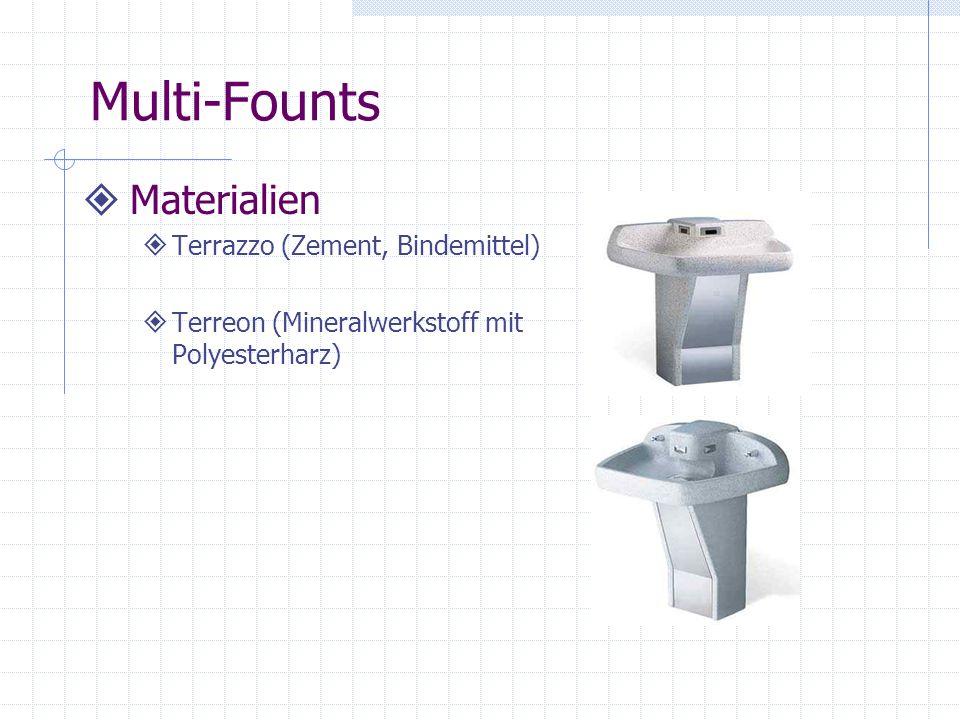 Multi-Founts Materialien Terrazzo (Zement, Bindemittel) Terreon (Mineralwerkstoff mit Polyesterharz)