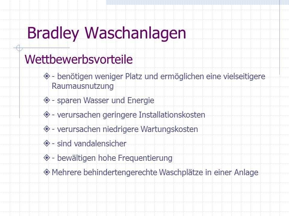 Bradley Waschanlagen Wettbewerbsvorteile - benötigen weniger Platz und ermöglichen eine vielseitigere Raumausnutzung - sparen Wasser und Energie - ver