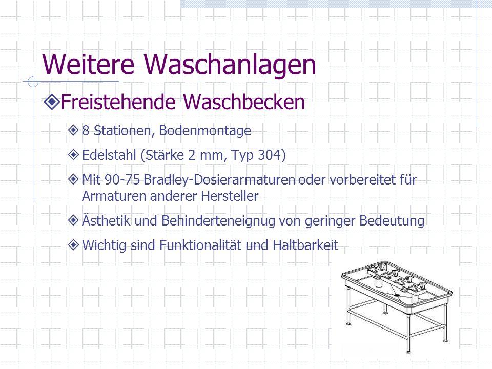 Weitere Waschanlagen Freistehende Waschbecken 8 Stationen, Bodenmontage Edelstahl (Stärke 2 mm, Typ 304) Mit 90-75 Bradley-Dosierarmaturen oder vorber