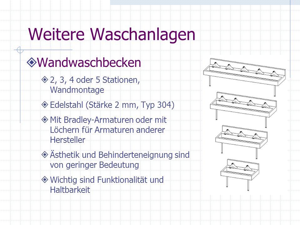 Weitere Waschanlagen Wandwaschbecken 2, 3, 4 oder 5 Stationen, Wandmontage Edelstahl (Stärke 2 mm, Typ 304) Mit Bradley-Armaturen oder mit Löchern für