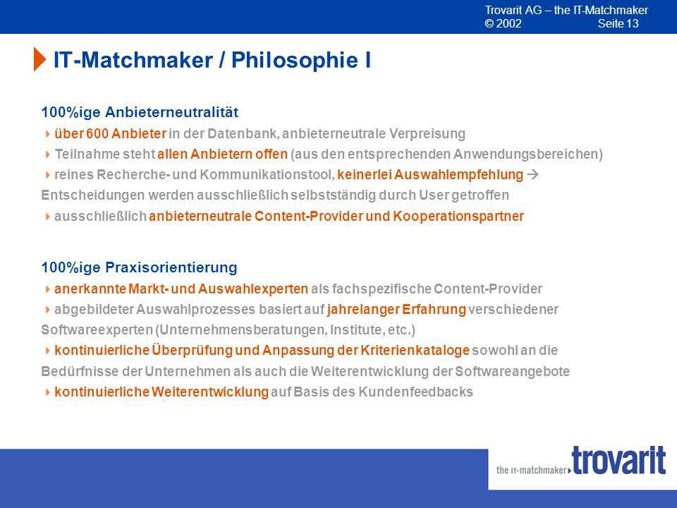 Trovarit AG – the IT-Matchmaker © 2002 Seite 13 IT-Matchmaker / Philosophie I 100%ige Anbieterneutralität über 600 Anbieter in der Datenbank, anbieter
