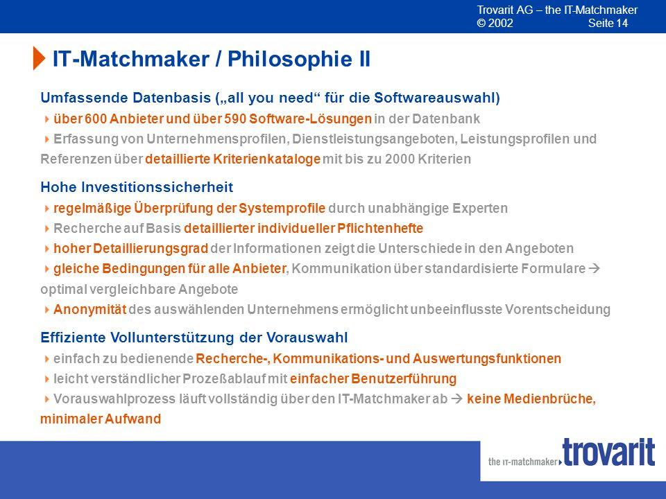 Trovarit AG – the IT-Matchmaker © 2002 Seite 14 IT-Matchmaker / Philosophie II Effiziente Vollunterstützung der Vorauswahl einfach zu bedienende Reche