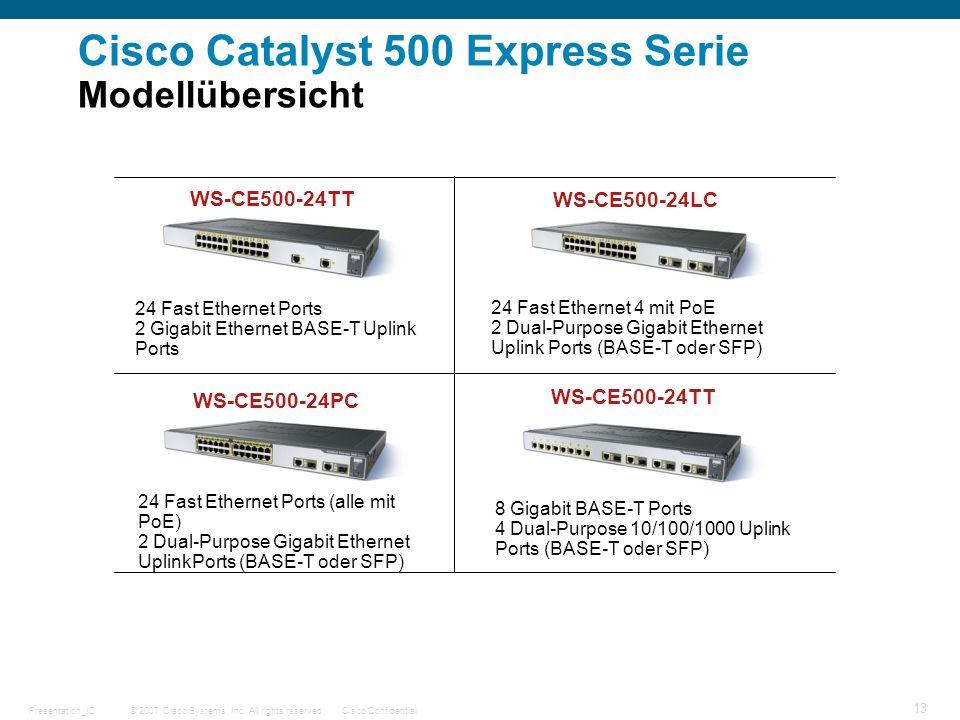 © 2007 Cisco Systems, Inc. All rights reserved.Cisco ConfidentialPresentation_ID 13 Cisco Catalyst 500 Express Serie Modellübersicht WS-CE500-24TT 24