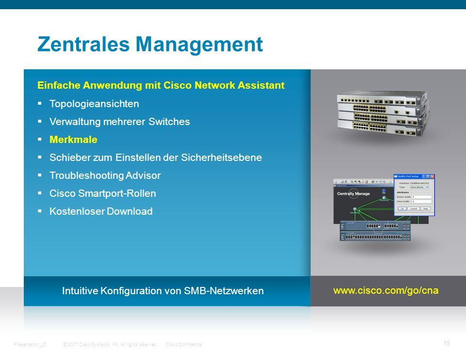 © 2007 Cisco Systems, Inc. All rights reserved.Cisco ConfidentialPresentation_ID 15 Zentrales Management Einfache Anwendung mit Cisco Network Assistan