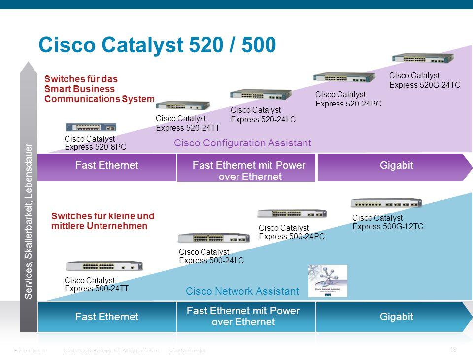 © 2007 Cisco Systems, Inc. All rights reserved.Cisco ConfidentialPresentation_ID 19 Cisco Catalyst 520 / 500 Switches für das Smart Business Communica
