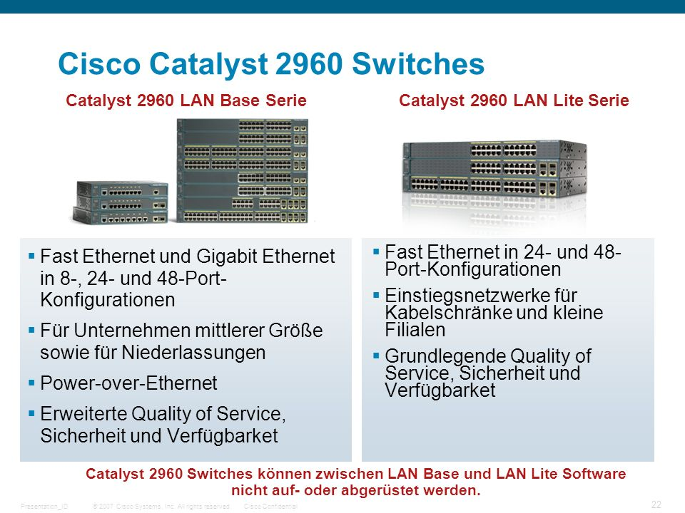 © 2007 Cisco Systems, Inc. All rights reserved.Cisco ConfidentialPresentation_ID 22 Cisco Catalyst 2960 Switches Fast Ethernet und Gigabit Ethernet in