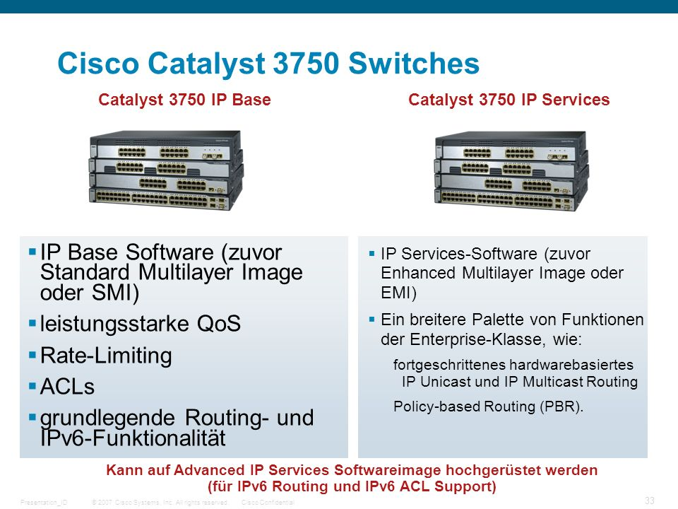 © 2007 Cisco Systems, Inc. All rights reserved.Cisco ConfidentialPresentation_ID 33 Cisco Catalyst 3750 Switches IP Base Software (zuvor Standard Mult