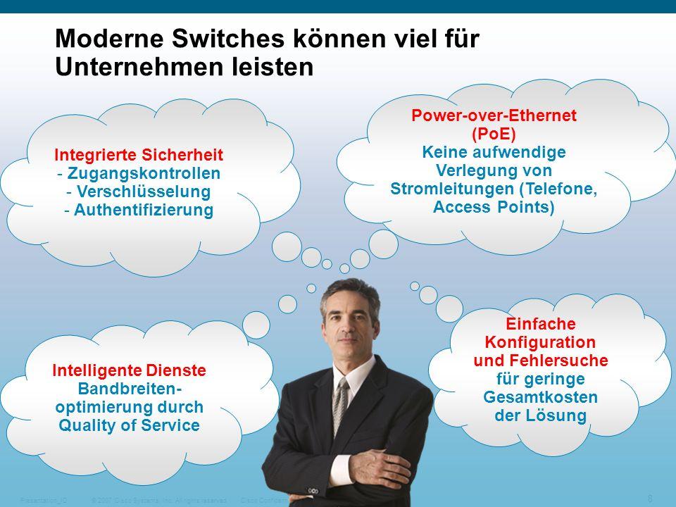 © 2007 Cisco Systems, Inc. All rights reserved.Cisco ConfidentialPresentation_ID 8 Moderne Switches können viel für Unternehmen leisten Integrierte Si