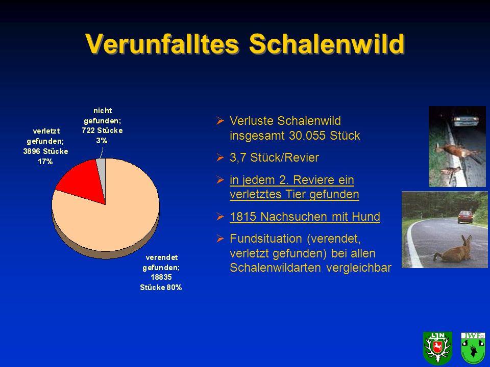 Verunfalltes Schalenwild Verluste Schalenwild insgesamt 30.055 Stück 3,7 Stück/Revier in jedem 2. Reviere ein verletztes Tier gefunden 1815 Nachsuchen