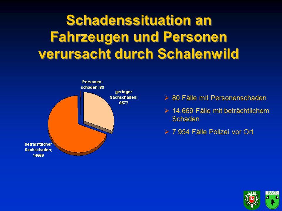 Schadenssituation an Fahrzeugen und Personen verursacht durch Schalenwild 80 Fälle mit Personenschaden 14.669 Fälle mit beträchtlichem Schaden 7.954 F