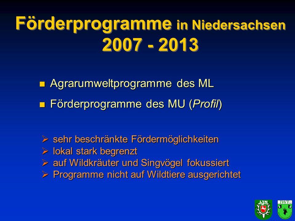 Förderprogramme in Niedersachsen 2007 - 2013 n Agrarumweltprogramme des ML n Förderprogramme des MU (Profil) sehr beschränkte Fördermöglichkeiten sehr