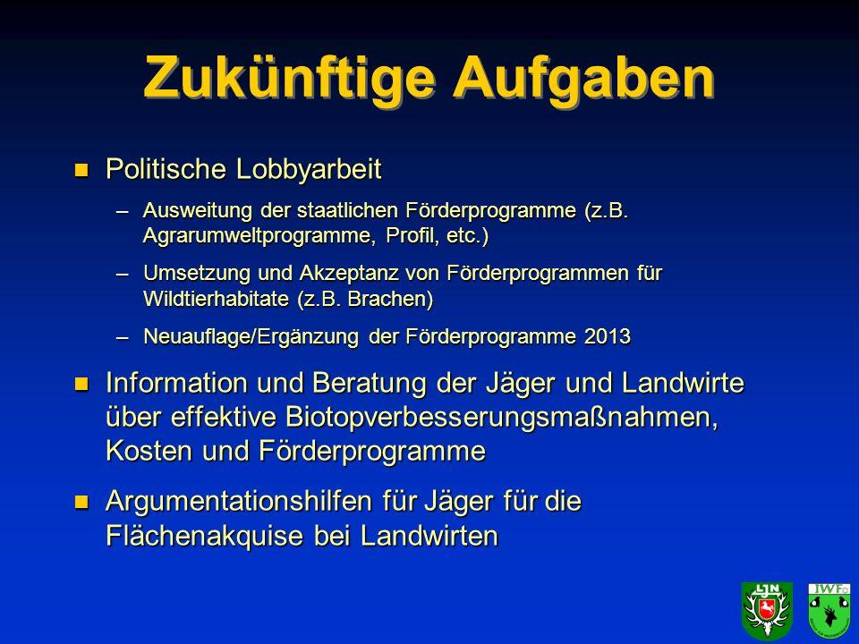 Zukünftige Aufgaben n Politische Lobbyarbeit –Ausweitung der staatlichen Förderprogramme (z.B. Agrarumweltprogramme, Profil, etc.) –Umsetzung und Akze