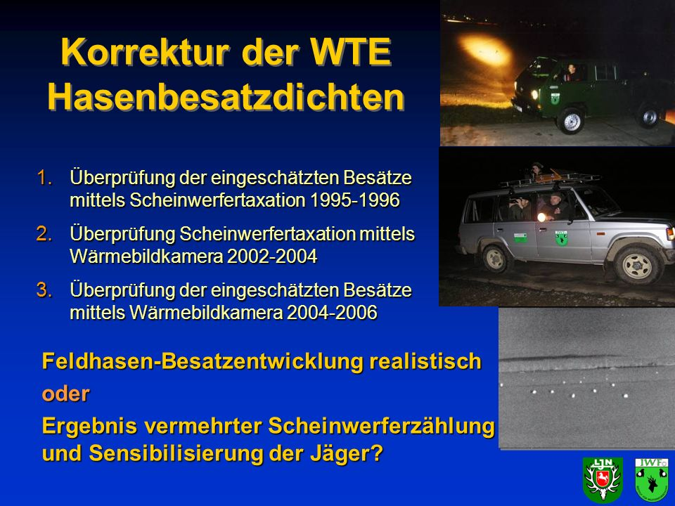 Korrektur der WTE Hasenbesatzdichten 1. Überprüfung der eingeschätzten Besätze mittels Scheinwerfertaxation 1995-1996 2. Überprüfung Scheinwerfertaxat
