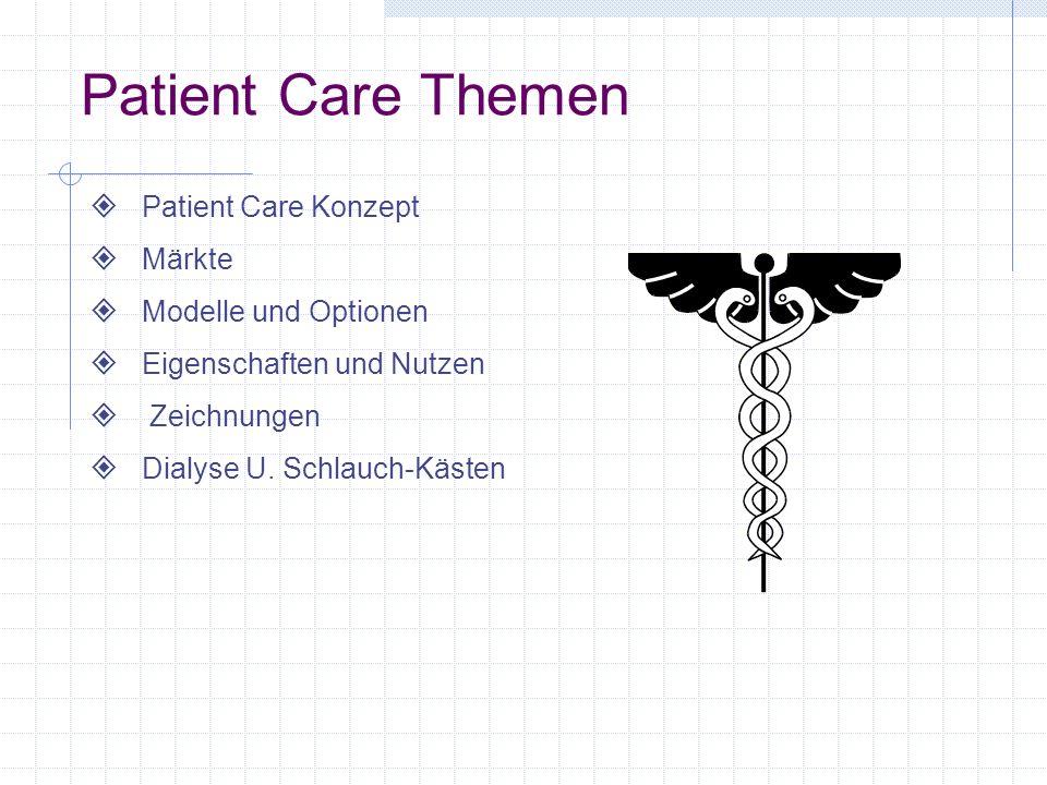Patient Care Themen Patient Care Konzept Märkte Modelle und Optionen Eigenschaften und Nutzen Zeichnungen Dialyse U.