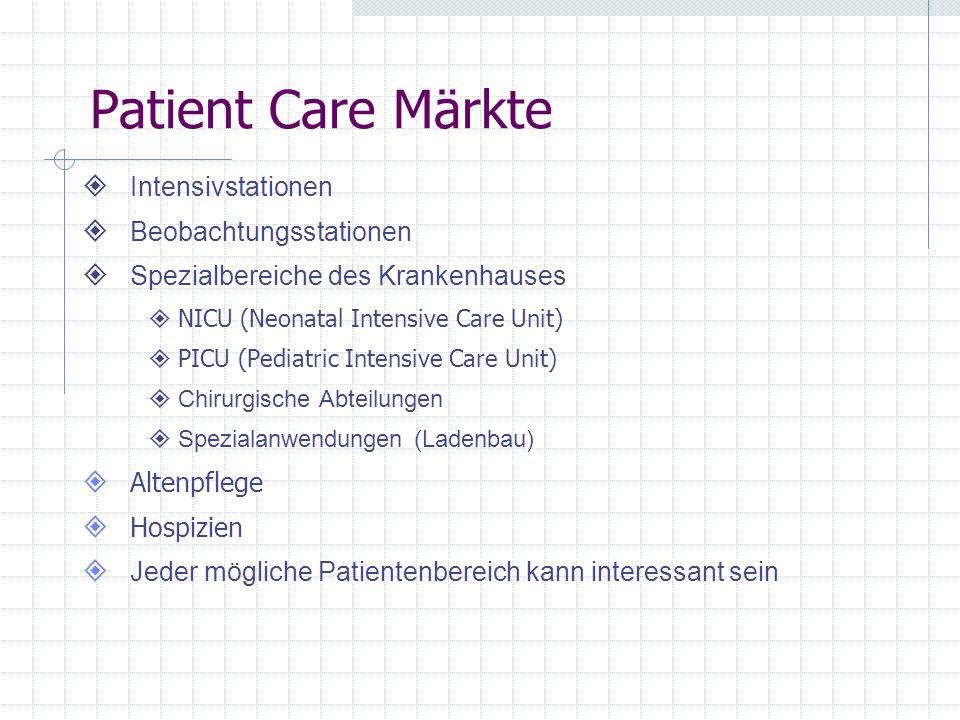 Patient Care Märkte Intensivstationen Beobachtungsstationen Spezialbereiche des Krankenhauses NICU (Neonatal Intensive Care Unit) PICU (Pediatric Intensive Care Unit) Chirurgische Abteilungen Spezialanwendungen (Ladenbau) Altenpflege Hospizien Jeder mögliche Patientenbereich kann interessant sein