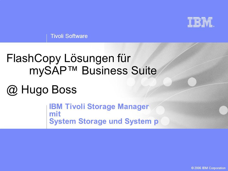Tivoli Software © 2006 IBM Corporation Template created by: Jarrett Potts FlashCopy Lösungen für mySAP Business Suite @ Hugo Boss IBM Tivoli Storage M