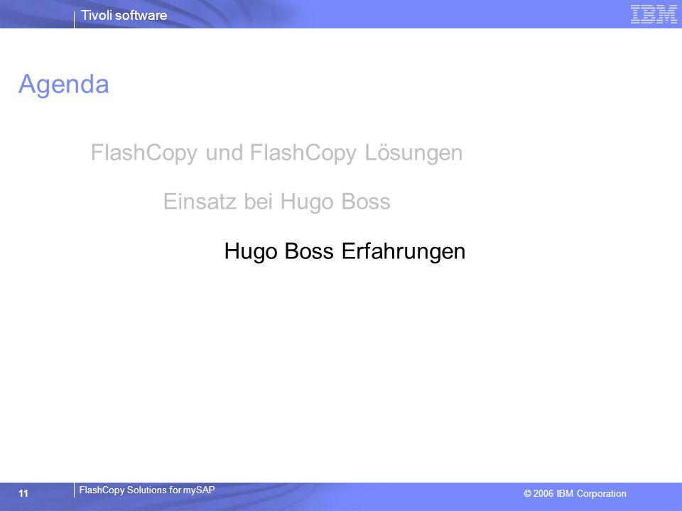 © 2006 IBM Corporation FlashCopy Solutions for mySAP Tivoli software 11 Agenda FlashCopy und FlashCopy Lösungen Einsatz bei Hugo Boss Hugo Boss Erfahr