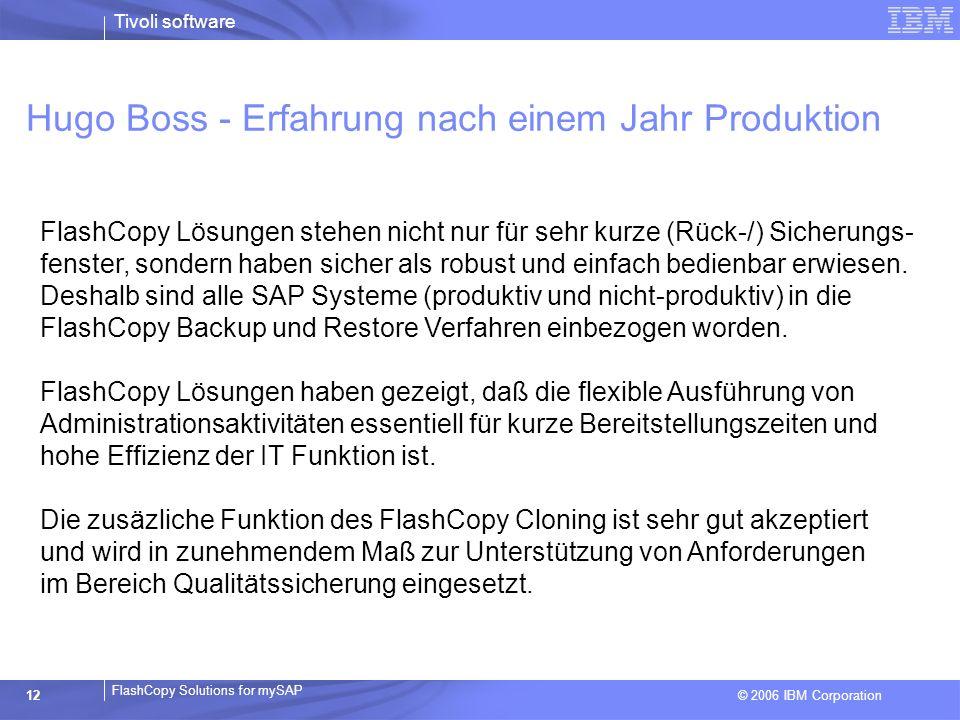 © 2006 IBM Corporation FlashCopy Solutions for mySAP Tivoli software 12 FlashCopy Lösungen stehen nicht nur für sehr kurze (Rück-/) Sicherungs- fenste