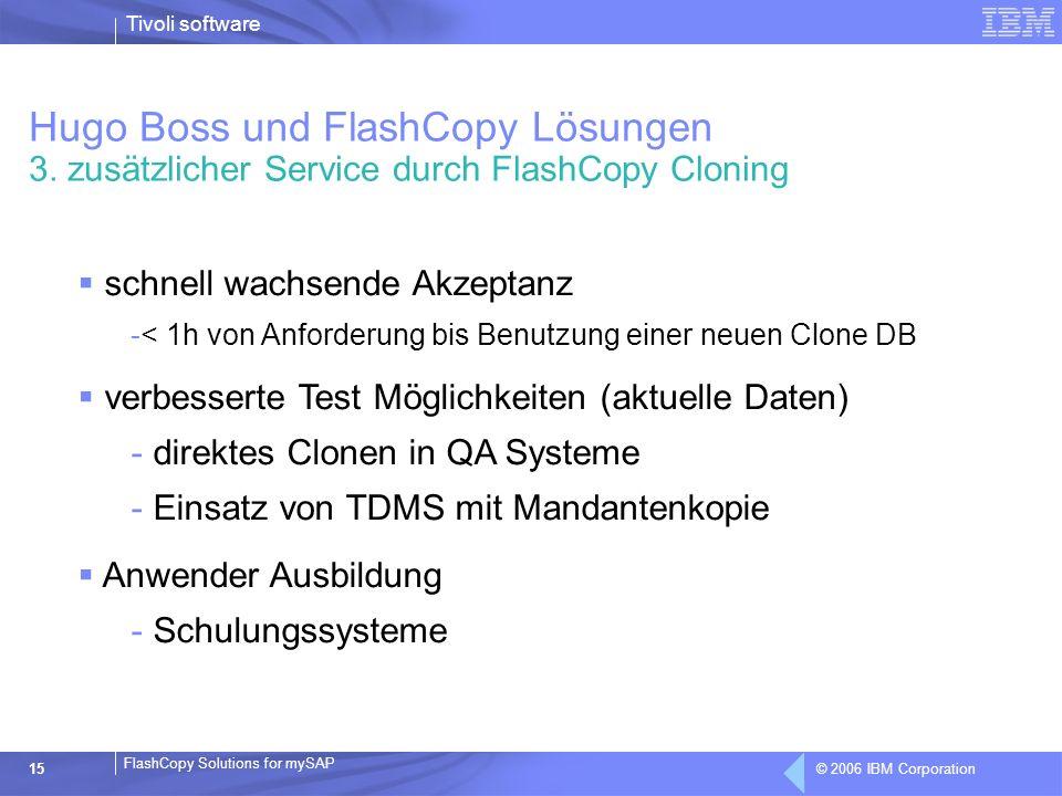 © 2006 IBM Corporation FlashCopy Solutions for mySAP Tivoli software 15 schnell wachsende Akzeptanz -< 1h von Anforderung bis Benutzung einer neuen Cl