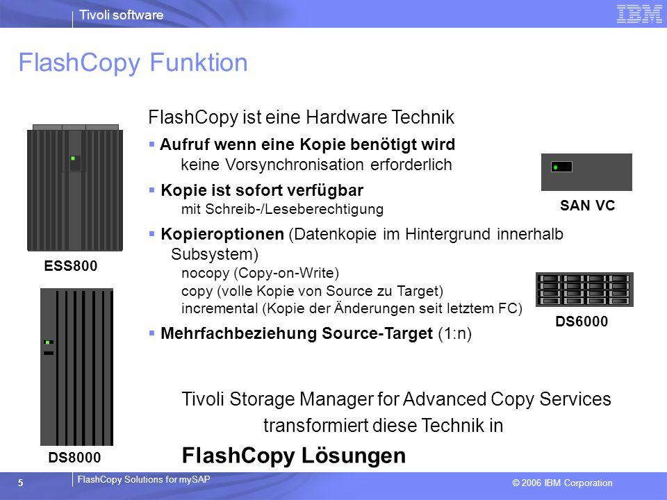 © 2006 IBM Corporation FlashCopy Solutions for mySAP Tivoli software 5 FlashCopy Funktion. ESS800. DS8000 DS6000 SAN VC FlashCopy ist eine Hardware Te