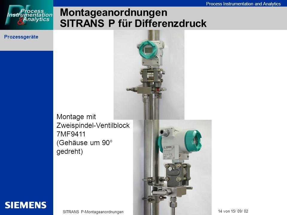 Prozessgeräte SITRANS P-Montageanordnungen 14 von 15/ 09/ 02 Process Instrumentation and Analytics Montageanordnungen SITRANS P für Differenzdruck Mon