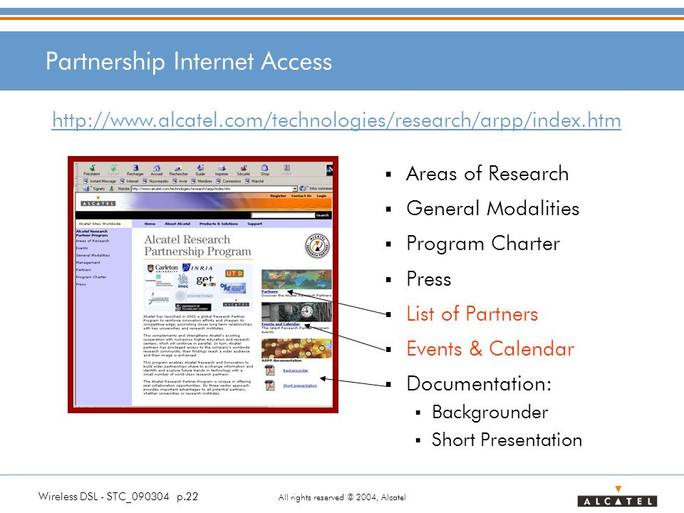 Wireless DSL - STC_090304 p.22 All rights reserved © 2004, Alcatel Partnership Internet Access Areas of Research General Modalities Program Charter Pr