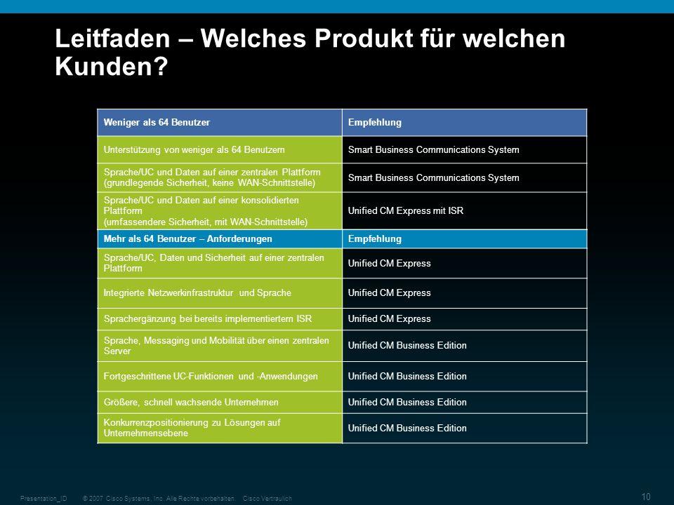 © 2007 Cisco Systems, Inc. Alle Rechte vorbehalten.Cisco VertraulichPresentation_ID 10 Leitfaden – Welches Produkt für welchen Kunden? Mehr als 64 Ben