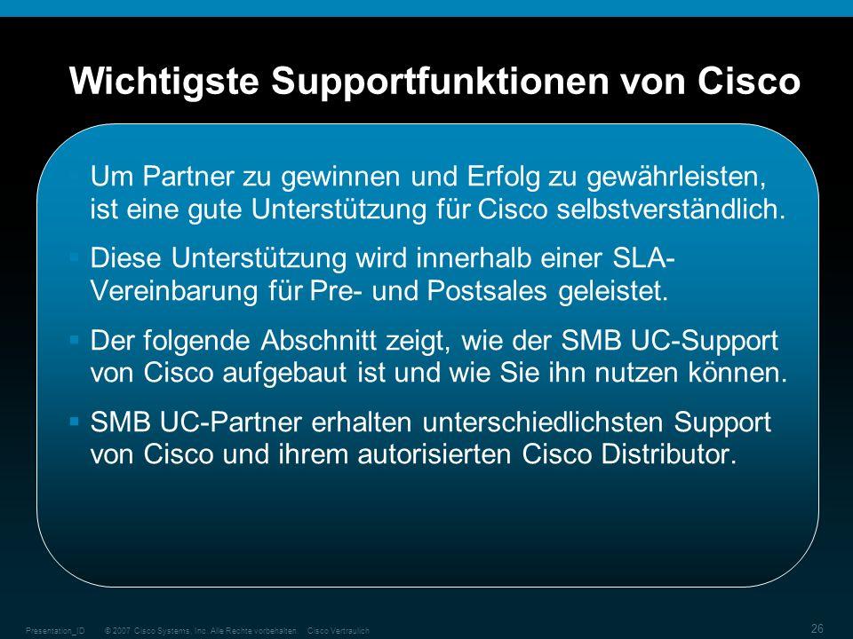 © 2007 Cisco Systems, Inc. Alle Rechte vorbehalten.Cisco VertraulichPresentation_ID 26 Wichtigste Supportfunktionen von Cisco Um Partner zu gewinnen u