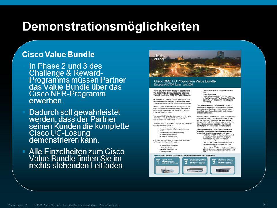 © 2007 Cisco Systems, Inc. Alle Rechte vorbehalten.Cisco VertraulichPresentation_ID 30 Demonstrationsmöglichkeiten Cisco Value Bundle In Phase 2 und 3