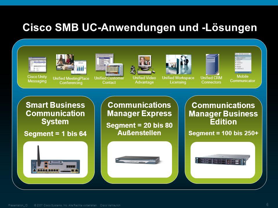 © 2007 Cisco Systems, Inc. Alle Rechte vorbehalten.Cisco VertraulichPresentation_ID 6 Cisco SMB UC-Anwendungen und -Lösungen Smart Business Communicat