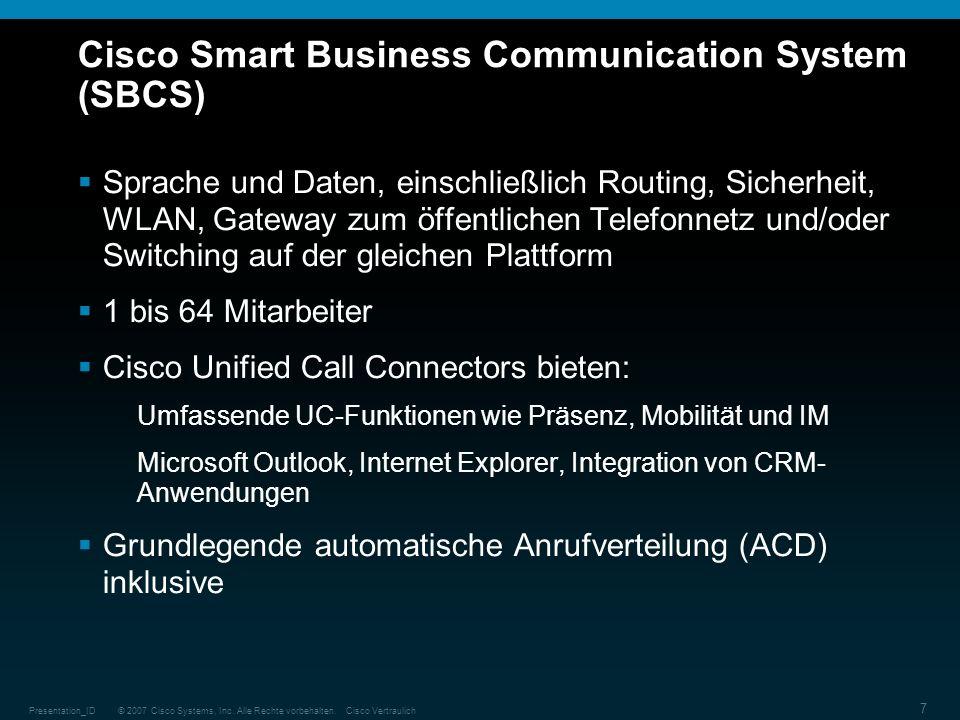 © 2007 Cisco Systems, Inc. Alle Rechte vorbehalten.Cisco VertraulichPresentation_ID 7 Cisco Smart Business Communication System (SBCS) Sprache und Dat