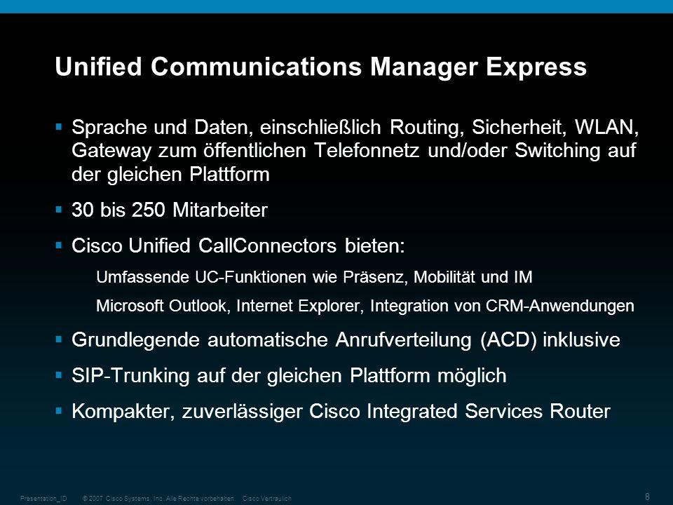 © 2007 Cisco Systems, Inc. Alle Rechte vorbehalten.Cisco VertraulichPresentation_ID 8 Unified Communications Manager Express Sprache und Daten, einsch