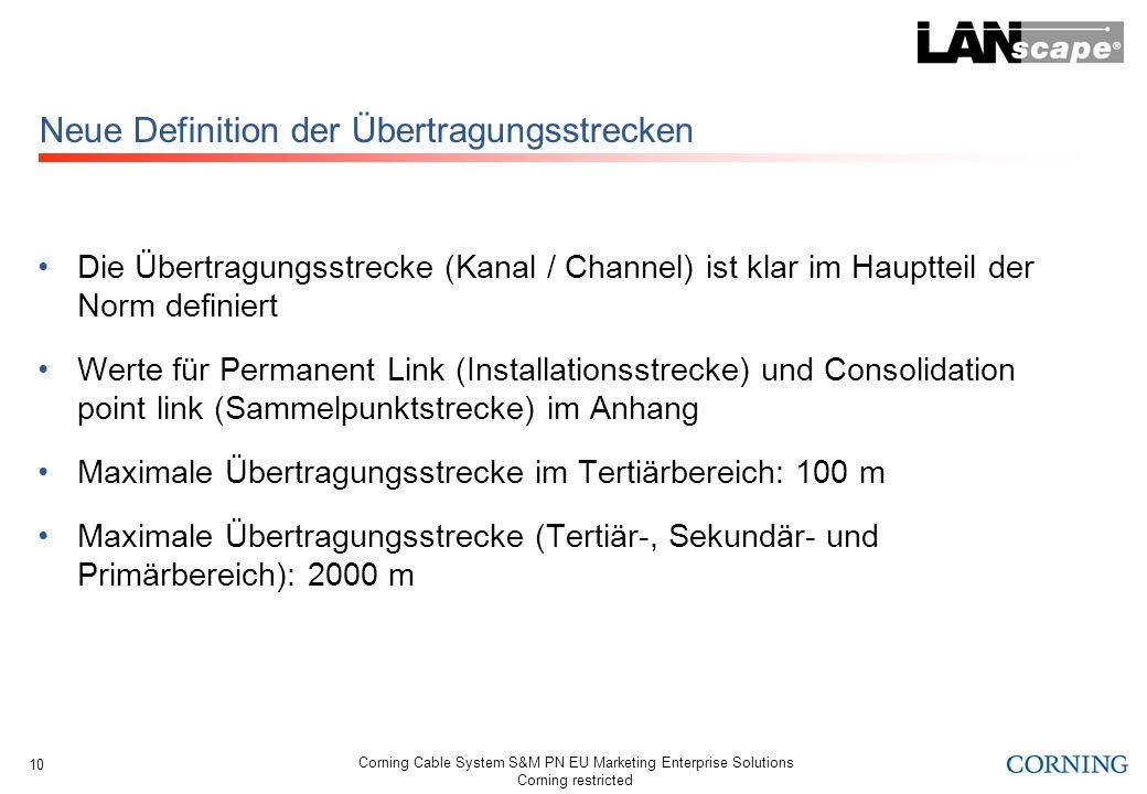 Corning Cable System S&M PN EU Marketing Enterprise Solutions Corning restricted 10 Neue Definition der Übertragungsstrecken Die Übertragungsstrecke (