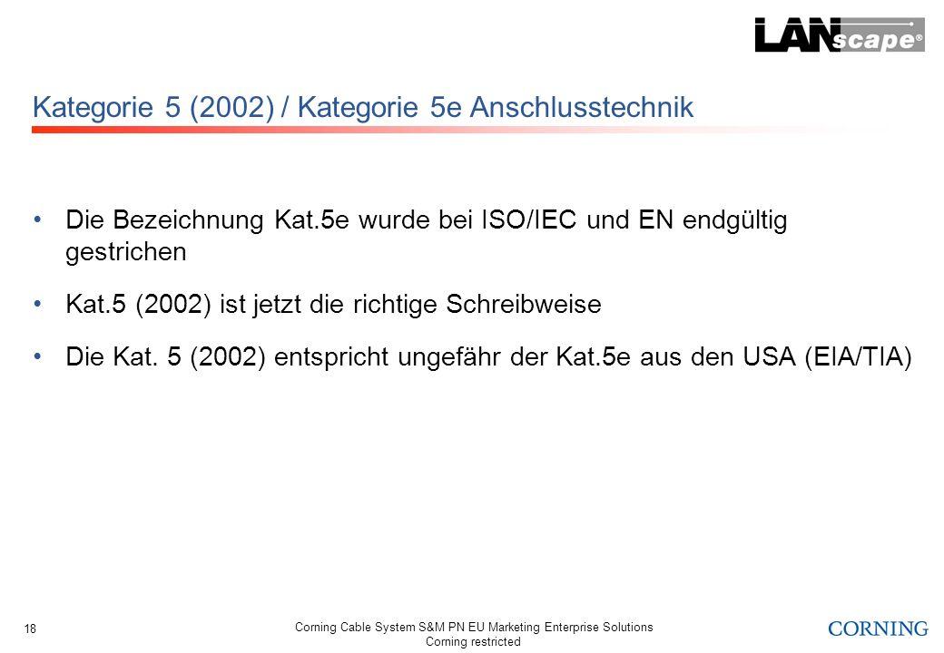 Corning Cable System S&M PN EU Marketing Enterprise Solutions Corning restricted 18 Kategorie 5 (2002) / Kategorie 5e Anschlusstechnik Die Bezeichnung