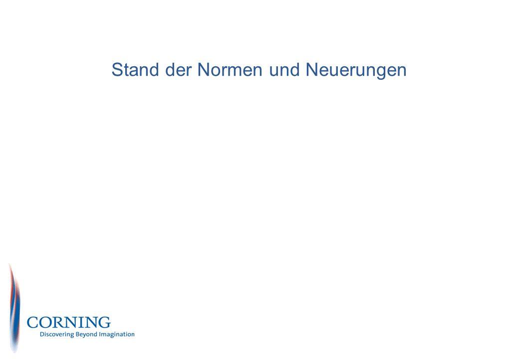 Corning Cable System S&M PN EU Marketing Enterprise Solutions Corning restricted 23 Anforderungen für Schnüre und Rangierpaare Beschrieben sind Kabeldämpfung, Einfügedämpfung, Rückflussdämpfung und NEXT (ausschließlich Kategorie 5) Interessant dazu ist folgender Satz: Anforderungen für Schnüre der Kategorie 6 und 7 sind in Beratung Informative NEXT Werte für verschiedene Längen von Kategorie 5, 6 und 7 sind jedoch aufgeführt Häufig Verweis auf Kapitel 7.2 und damit wiederum auf EN 50288-1