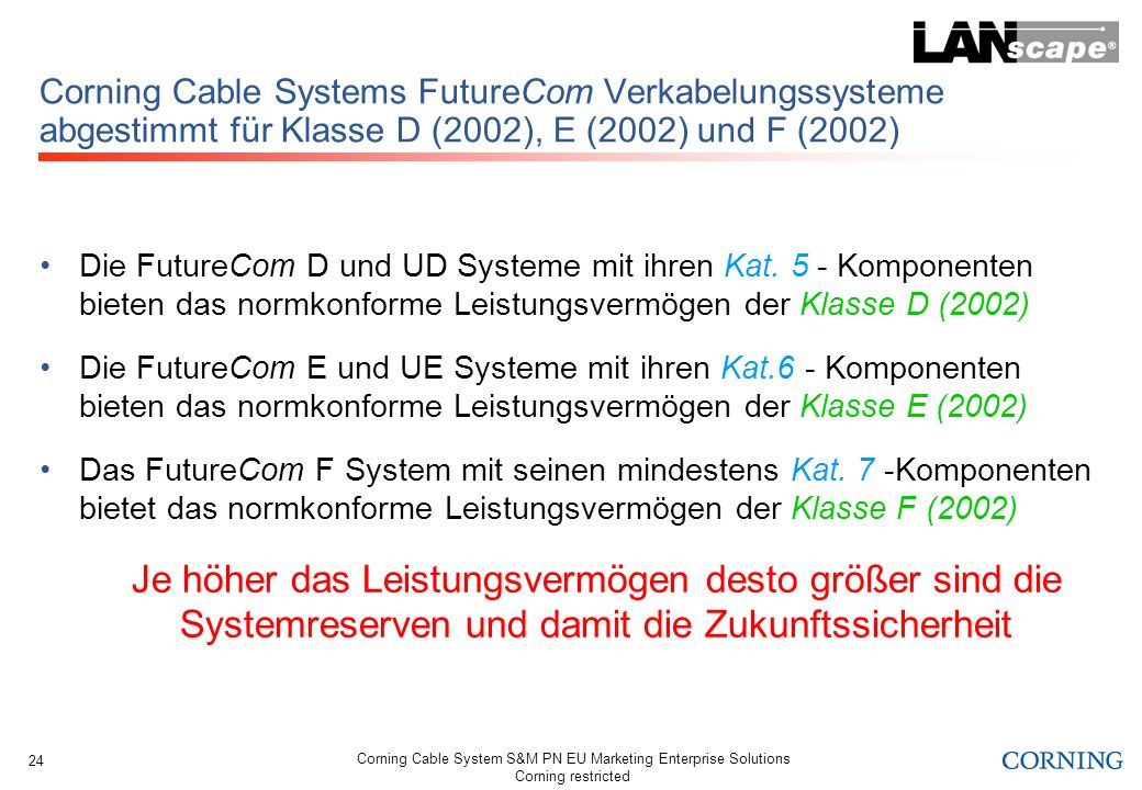 Corning Cable System S&M PN EU Marketing Enterprise Solutions Corning restricted 24 Corning Cable Systems FutureCom Verkabelungssysteme abgestimmt für