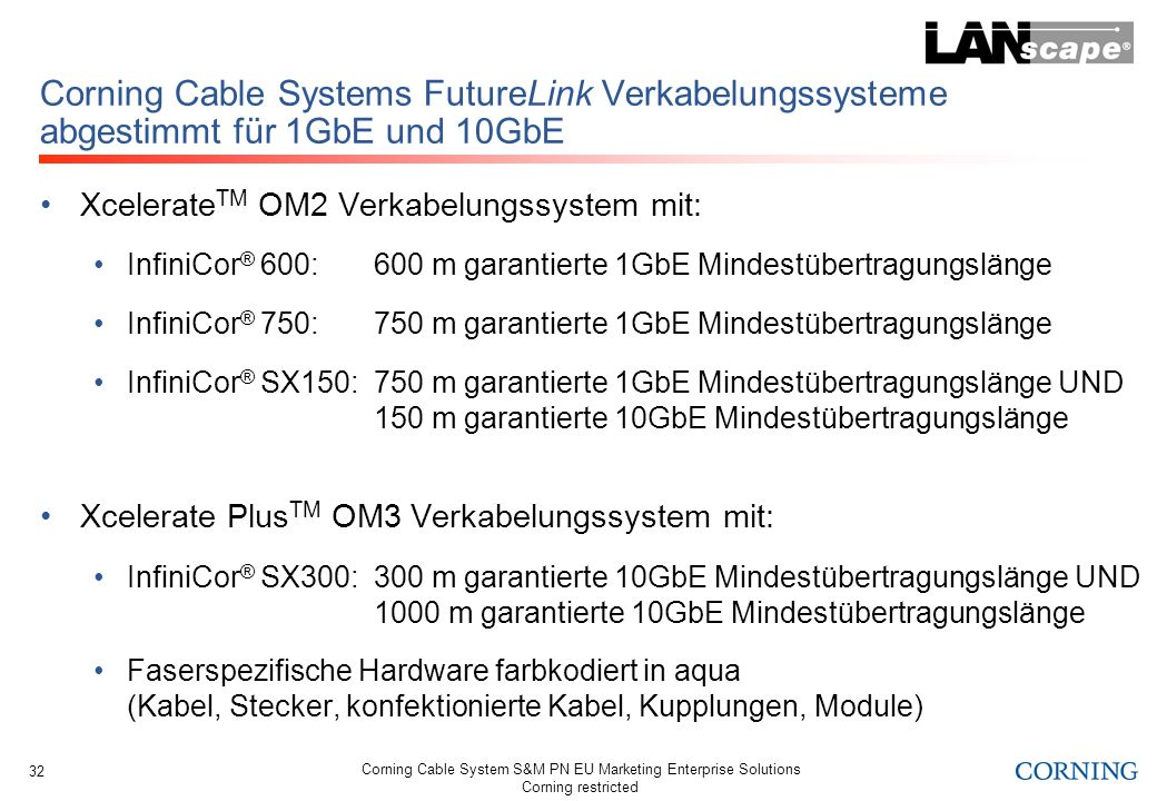 Corning Cable System S&M PN EU Marketing Enterprise Solutions Corning restricted 32 Corning Cable Systems FutureLink Verkabelungssysteme abgestimmt fü