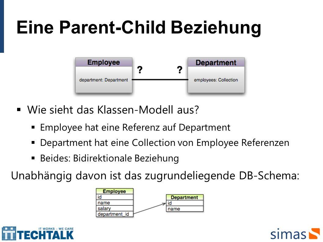 Eine Parent-Child Beziehung Mapping des Klassenmodells auf das DB-Schema mittels JPA: Metadata ist erforderlich.