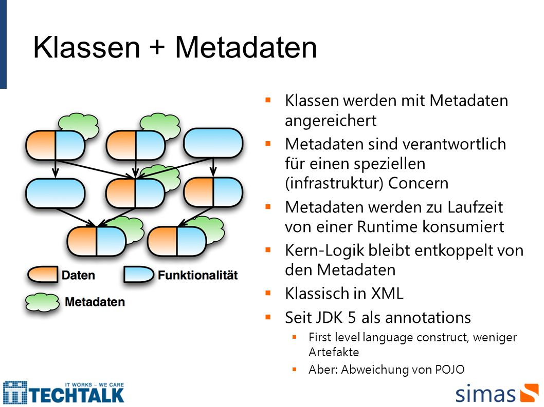 Klassen + Metadaten Klassen werden mit Metadaten angereichert Metadaten sind verantwortlich für einen speziellen (infrastruktur) Concern Metadaten wer