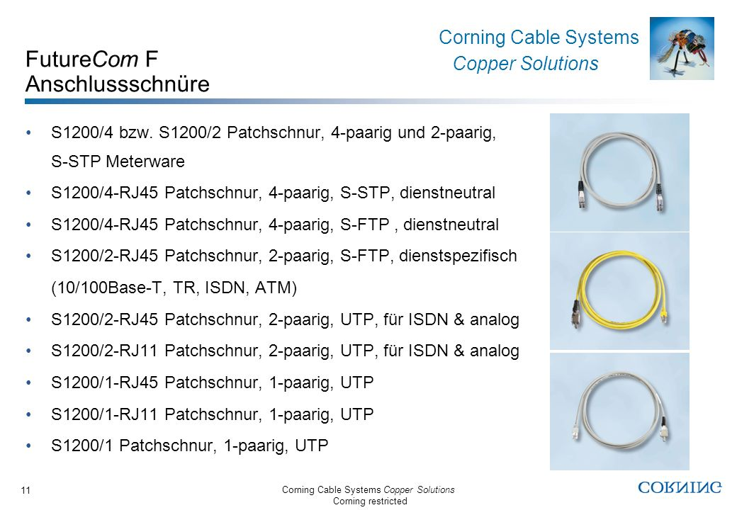 Corning Cable Systems Copper Solutions Corning restricted Corning Cable Systems Copper Solutions 11 FutureCom F Anschlussschnüre S1200/4 bzw.