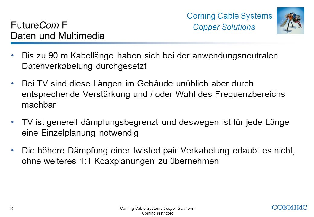 Corning Cable Systems Copper Solutions Corning restricted Corning Cable Systems Copper Solutions 13 FutureCom F Daten und Multimedia Bis zu 90 m Kabel