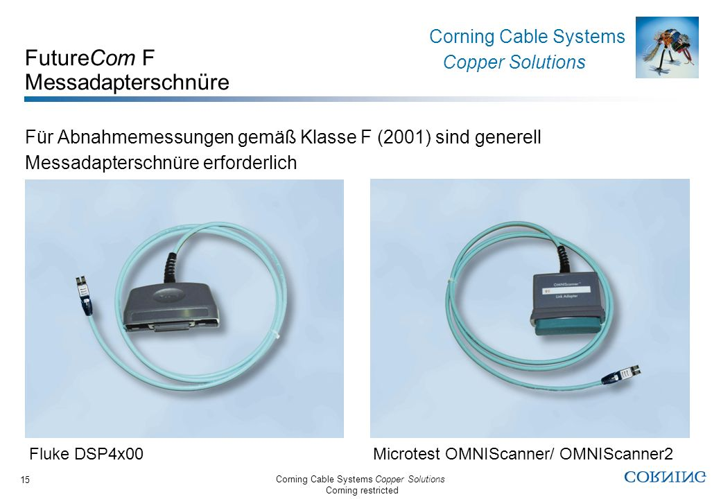 Corning Cable Systems Copper Solutions Corning restricted Corning Cable Systems Copper Solutions 15 FutureCom F Messadapterschnüre Für Abnahmemessunge