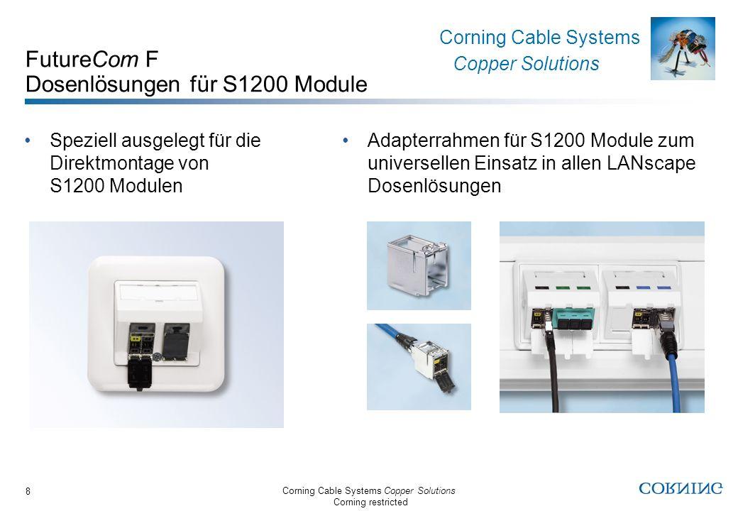 Corning Cable Systems Copper Solutions Corning restricted Corning Cable Systems Copper Solutions 8 FutureCom F Dosenlösungen für S1200 Module Speziell