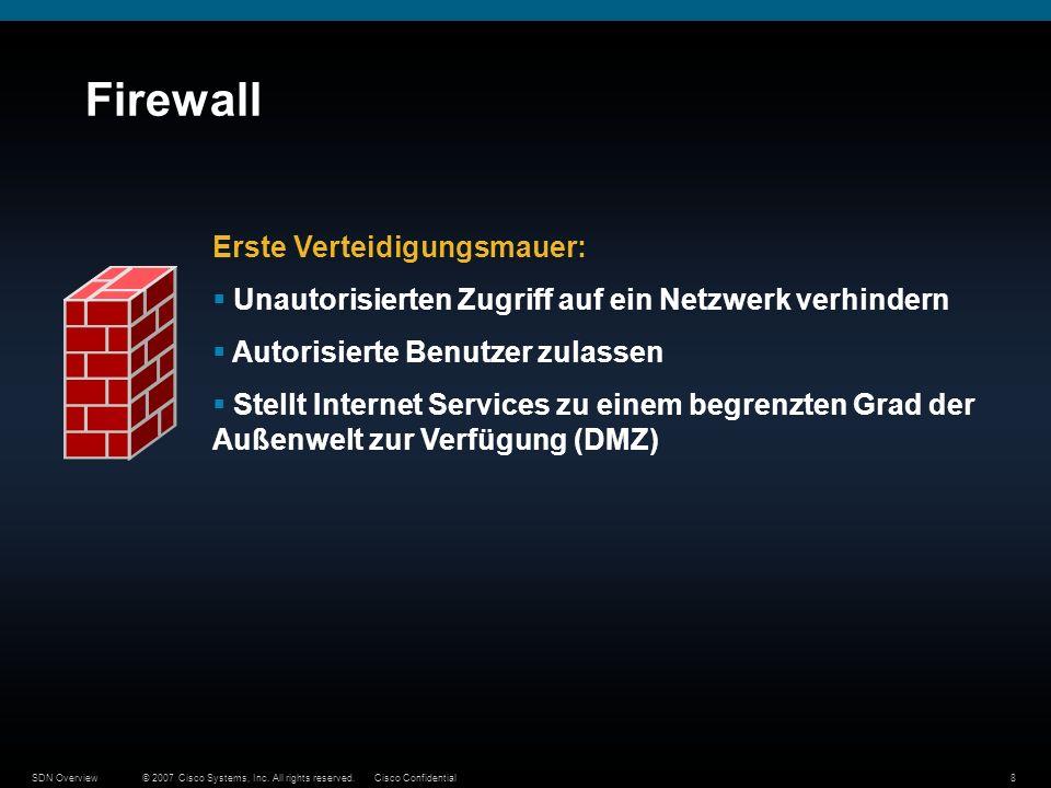 © 2007 Cisco Systems, Inc. All rights reserved.Cisco ConfidentialSDN Overview8 Firewall Erste Verteidigungsmauer: Unautorisierten Zugriff auf ein Netz