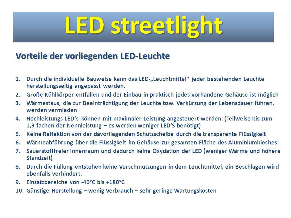 Weitere Vorteile 1.Die umspülende Flüssigkühlung von Hochleistungs-LEDs ist so effektiv, dass auf konventionelle Kühlkörper verzichtet werden kann.