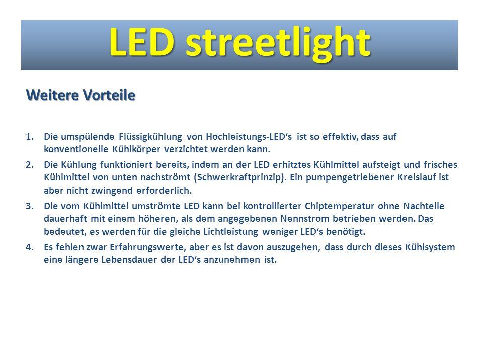 Weitere Vorteile 1.Die umspülende Flüssigkühlung von Hochleistungs-LEDs ist so effektiv, dass auf konventionelle Kühlkörper verzichtet werden kann. 2.
