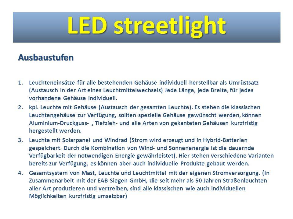 Ausbaustufen 1.Leuchteneinsätze für alle bestehenden Gehäuse individuell herstellbar als Umrüstsatz (Austausch in der Art eines Leuchtmittelwechsels)