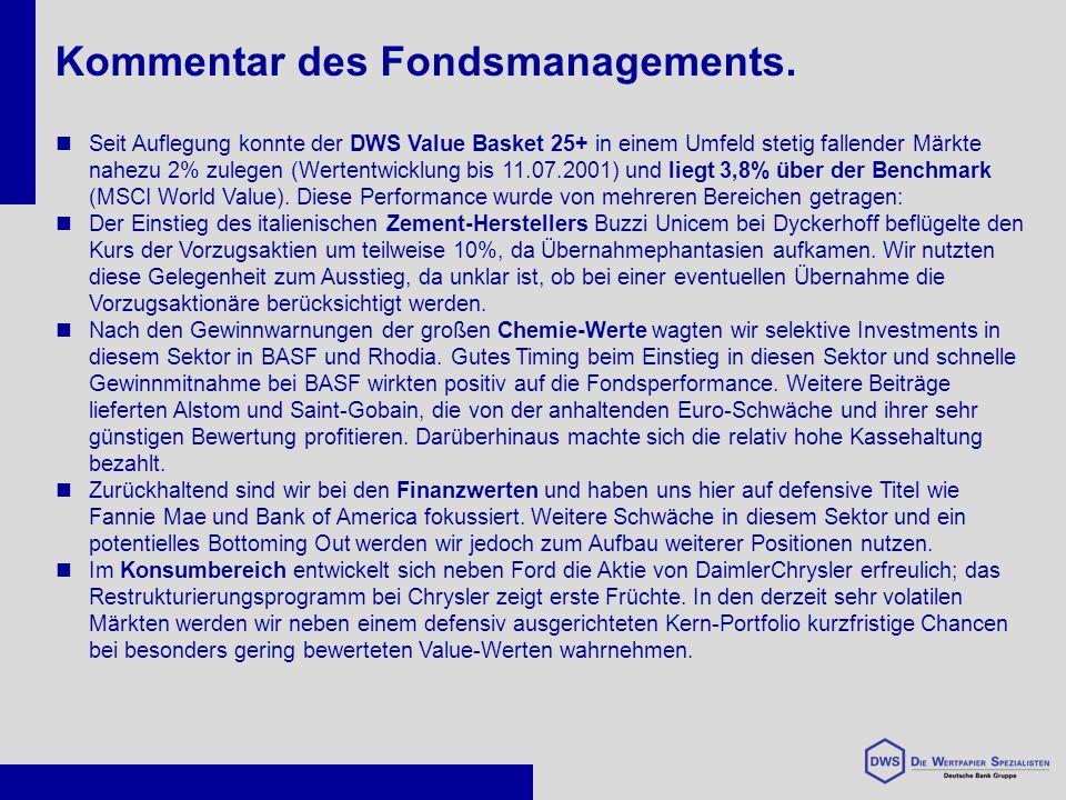 Seit Auflegung konnte der DWS Value Basket 25+ in einem Umfeld stetig fallender Märkte nahezu 2% zulegen (Wertentwicklung bis 11.07.2001) und liegt 3,