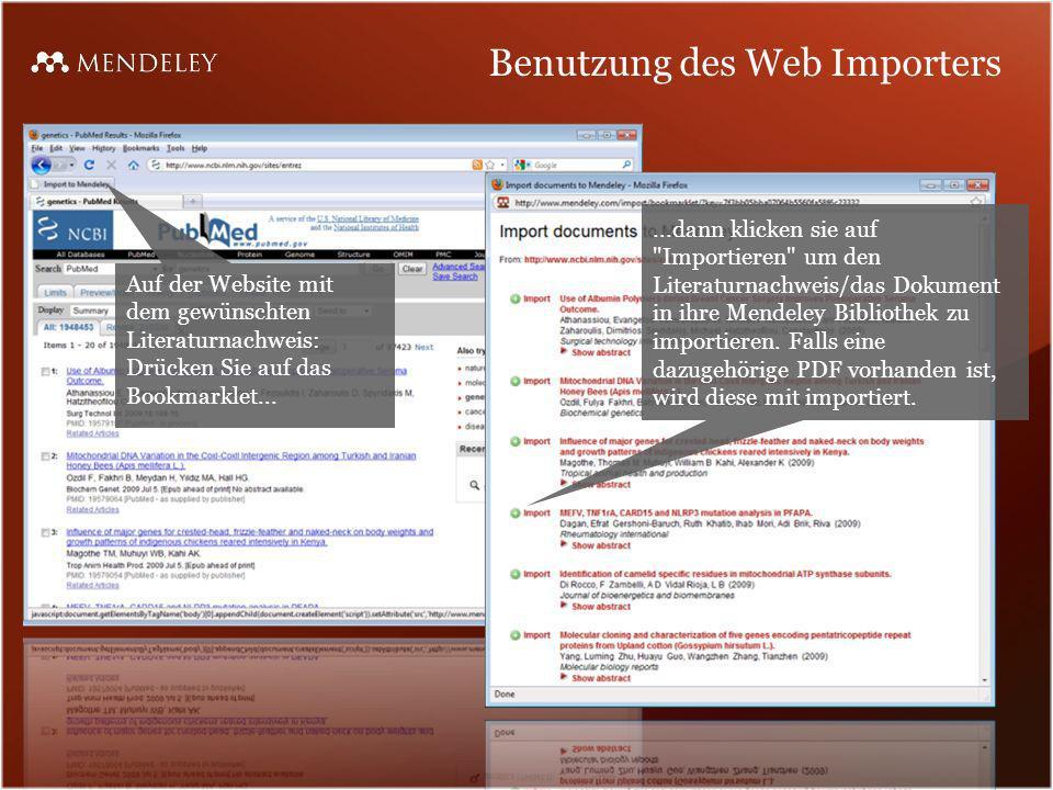 Benutzung des Web Importers Auf der Website mit dem gewünschten Literaturnachweis: Drücken Sie auf das Bookmarklet......dann klicken sie auf